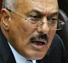 Yemeni President Saleh addresses the parliament in Sanaa