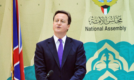 David Cameron delivers his speech in Kuwait