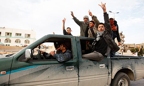 Protesters chant anti-government slogans in Tobruk, Libya. Photograph: Asmaa Waguih/Reuters