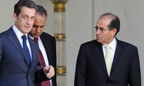 France's Nicolas Sarkozy with Libyan rebel emissaries