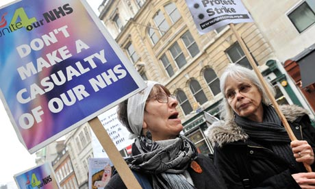 Protests against NHS reforms bill