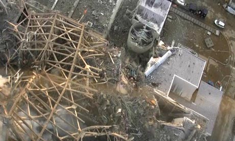 Handout shows damage sustained at the Fukushima Daiichi nuclear power complex