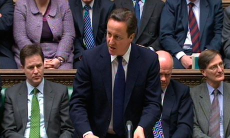 David Cameron speaks about Libyan no-fly zone in the House of Commons this morning