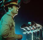 Colonel Gaddafi speaking in 1977