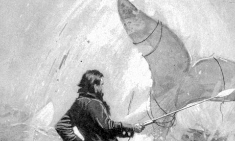 An illustration from Herman Melville's 1851 book Moby-Dick, showing Captain Ahab and the whale.