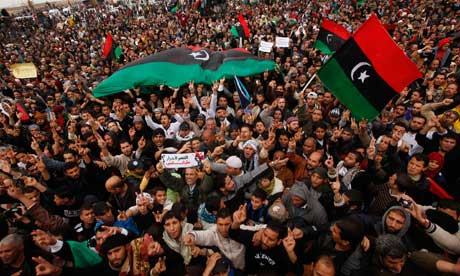 Protesters attend an anti-Gaddafi demonstration in Benghazi