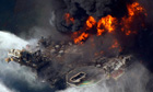 BP's Deepwater Horizon oil rig burns in the Gulf of Mexico