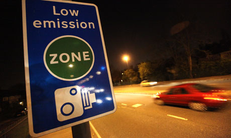 A 'low emission zone' sign in London.