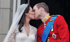 Royal wedding: Prince William kissing Kate Middleton