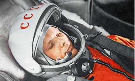 Cosmonaut Yuri Gagarin aboard Vostok spacecraft