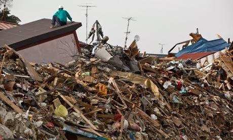 Rubble left by Japan tsunami in March