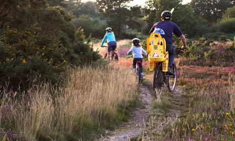 Family cycling along heathland tracks in Dorset