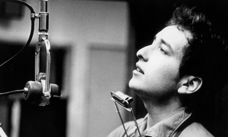 Bob Dylan recording his first album at Columbia Studio, New York City