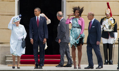 The royal family and the Obamas at Buckingham Palace