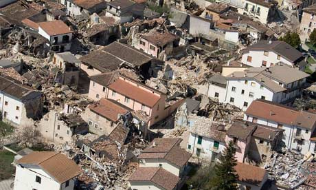 Destroyed houses in Onna near L'Aquila - 300 people died in the earthquake. Photograph: Max Rossi/Reuters
