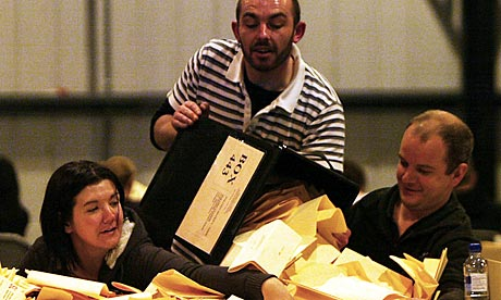 Ballot boxes counted in Glasgow.