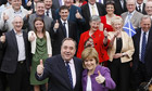 SNP leader Alex Salmond and deputy leader Nicola Sturgeon with newly elected SNP MSP