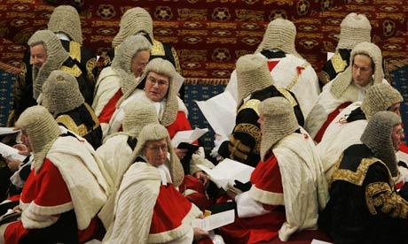 Law Lords sit on the cross benches as th