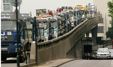 Trucks on a section of the A40 highway in London