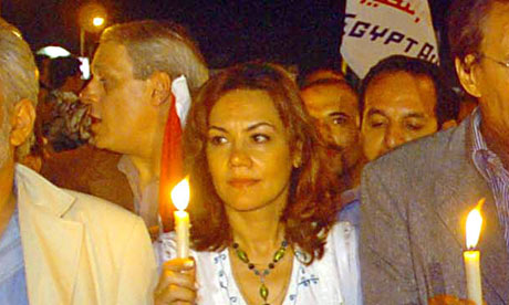 Bothaina Kamel at a candlelight vigil