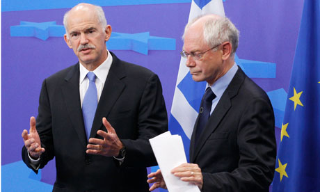 Greece's prime minister George Papandreou and European Council president Herman Van Rompuy – EU leaders have agreed a second rescue