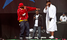 Ghostface Killah, GZA and Method Man of Wu-Tang Clan perform at the Glastonbury festival