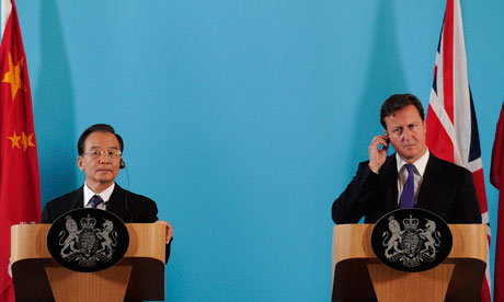 China's premier Wen Jiabao attends a joint press conference with David Cameron