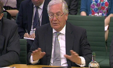 The Bank of England governor, Sir Mervyn King, giving evidence to the Commons Treasury committee