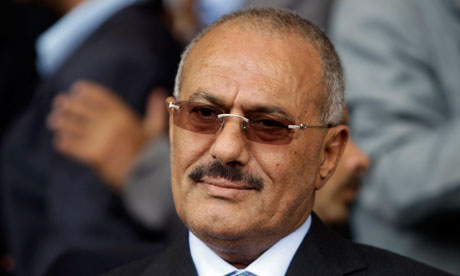 File photo of Yemen's President Ali Abdullah Saleh addressing pro-government supporters in Sanaa