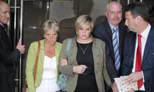 Sally Dowler, Gemma Dowler and Bob Dowler emerge after todays meeting