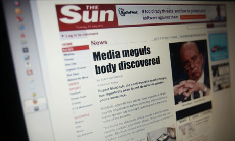 A photo of The Sun website after it was targeted by computer hackers Lulzsec
