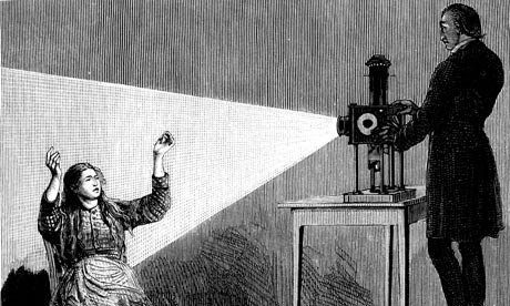 Jean Martin Charcot inducing hypnosis using a magic lantern.