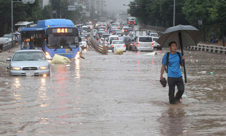 Flooded roads in South Korea