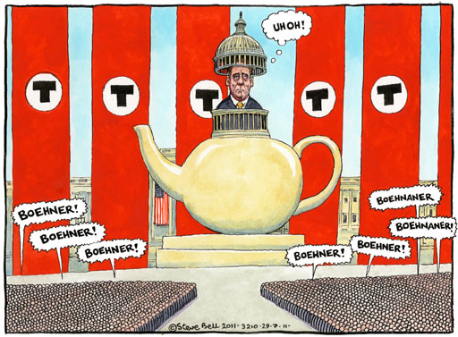 Steve Bell cartoon on the US debt crisis Hardline revolt puts more pressure on Republican speaker of the house John Boehner