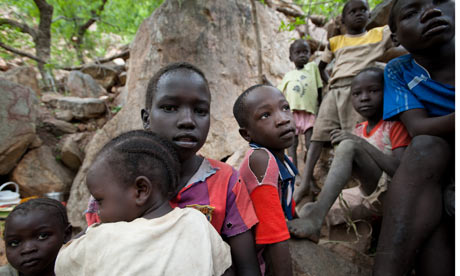 nuba mountains children flee sudan