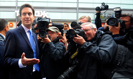 Riots in Manchester : Ed Miliband, leader of Britain's Opposition Labour Party