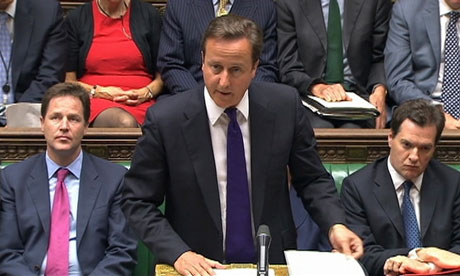Britain's Prime Minister David Cameron speaks during an emergency session of parliament