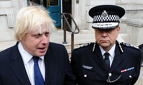 Acting Met chief Tim Godwin and Boris Johnson