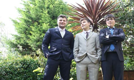 Boys to men from left Oscar Rorie and Louis in their wedding suits
