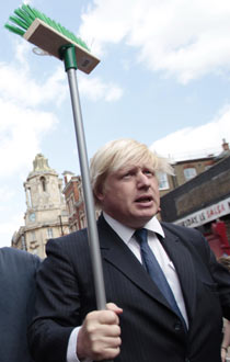 London Mayor Boris Johnson in Clapham after the UK riots.