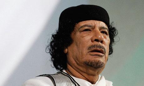 Libyan leader Muammar Gaddafi giving a speech in Rome
