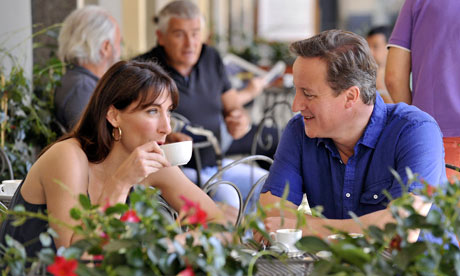 David and Samantha Cameron on holiday in Italy