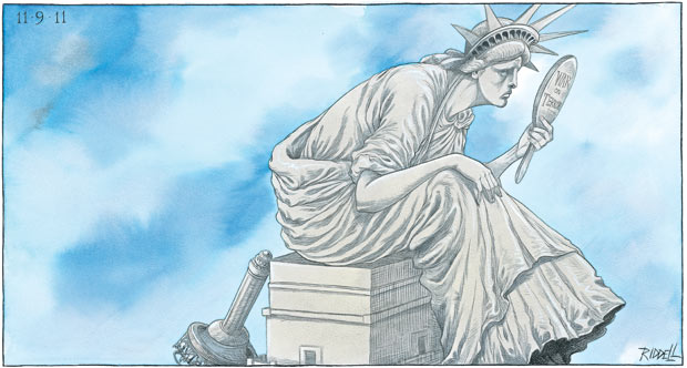 Ten years on, America reflects Chris Riddell on America's war on terror