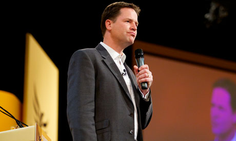 Nick Clegg on stage at the party conference