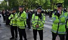 Police in London at an EDL demo
