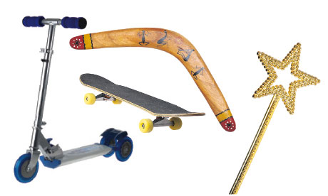 A scooter, scateboard, boomerang and wand