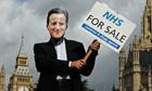 Ann NHS demonstrator dressed as David Cameron