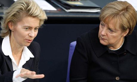 Ursula von der Leyen with Angela Merkel