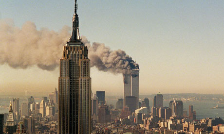 World Trade Centre on fire on 9/11