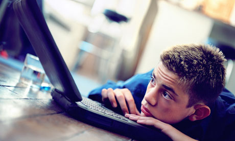 teenager on a computer